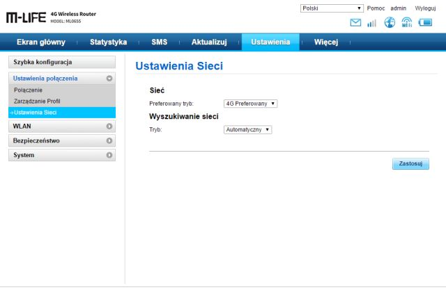 Router M-LIFE ML0655 - zrzut ekranu menu