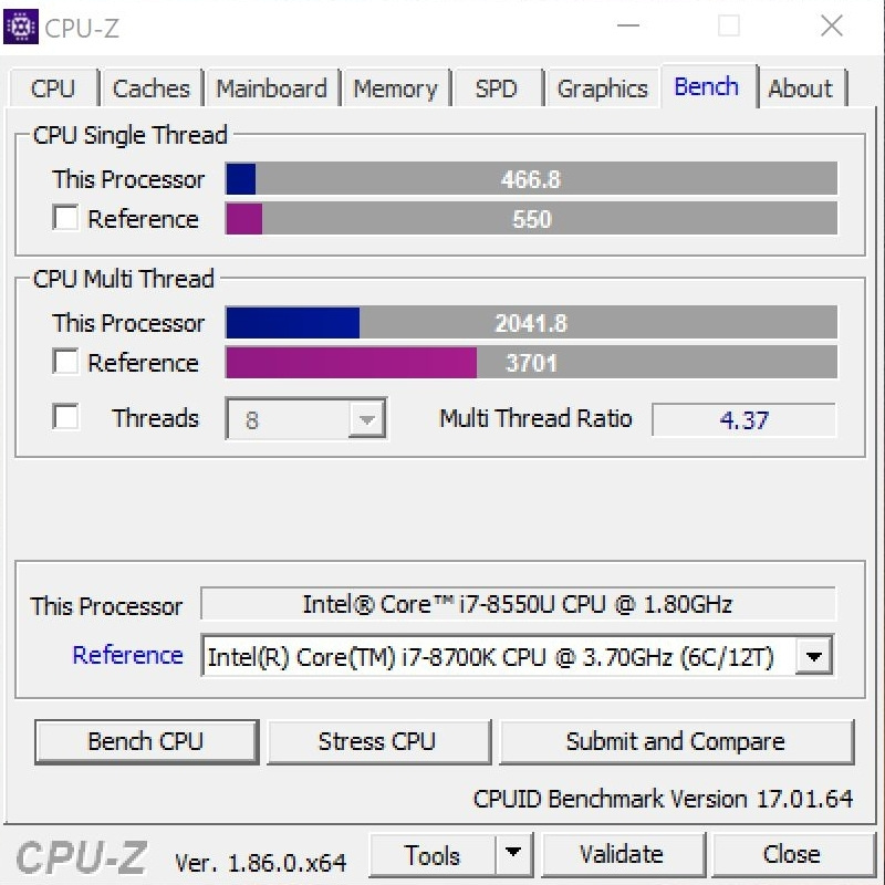 Huawei MateBook X Pro - program CPU-Z