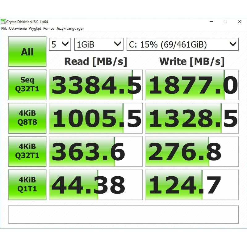Huawei MateBook X Pro - test pamięci CristalDiskMark